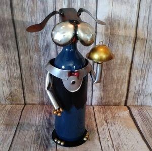 Metal Dog Waiter Server Wine Bottle Holder